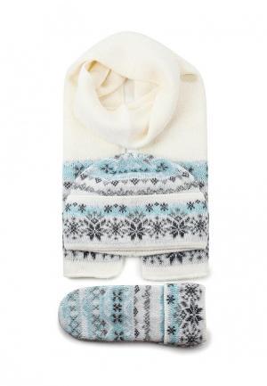 Комплект шапка, шарф и варежки Ferz. Цвет: разноцветный