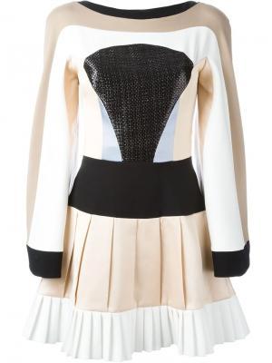 Приталенное платье с панельным дизайном Hussein Bazaza. Цвет: розовый и фиолетовый