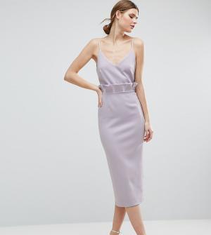 ASOS Tall Платье-футляр миди. Цвет: фиолетовый