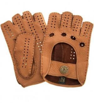 Автомобильные кожаные перчатки на кнопке Bartoc. Цвет: коричневый