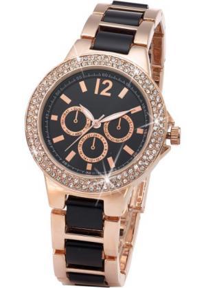 Наручные часы под хронограф в металлическом корпусе (розово-золотистый/черный) bonprix. Цвет: розово-золотистый/черный