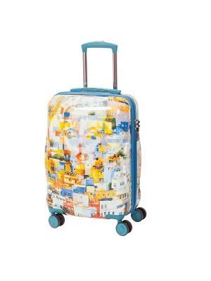 Чемодан на 4х колесах, серия Nikas Greece, 42 л, с телескопической ручкой Sun Voyage. Цвет: голубой, персиковый, светло-желтый