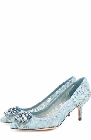 Кружевные туфли Rainbow Lace с брошью Dolce & Gabbana. Цвет: голубой