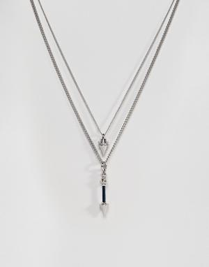 ASOS Двухъярусное ожерелье с подвеской-стрелой. Цвет: серебряный