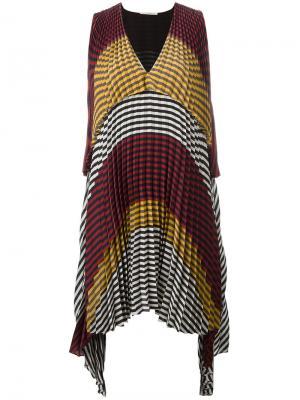 Плиссированное платье в клетку Marco De Vincenzo. Цвет: многоцветный