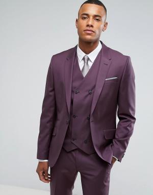 ASOS Сиреневый приталенный пиджак из 100% шерсти. Цвет: фиолетовый