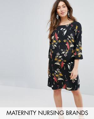 Mama.licious Платье для беременных и кормящих с цветочным принтом Mamalicious. Цвет: белый