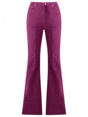 Расклешенные бархатные брюки с высокой талией Amapô. Цвет: розовый и фиолетовый