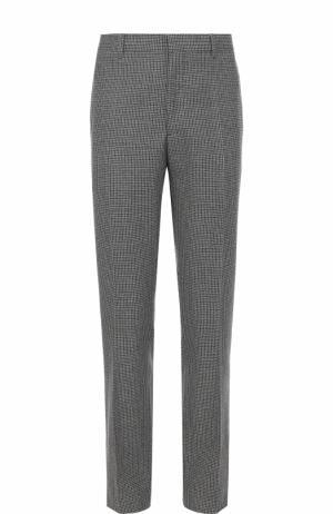 Шерстяные брюки прямого кроя с лампасами CALVIN KLEIN 205W39NYC. Цвет: серый