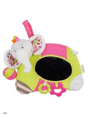 Игровой центр на кроватку с зеркальцем и прорезывателями Слонёнок Тим Жирафики. Цвет: розовый, серый, салатовый