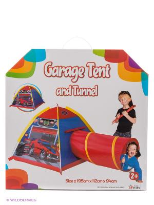 Палатка с туннелем Гараж Five Stars. Цвет: красный, синий