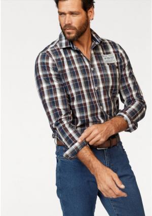 Рубашка Arizona. Цвет: синий/коричневый/серый/белый