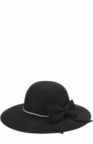 Шляпа с бантом и стразами Monnalisa. Цвет: черный