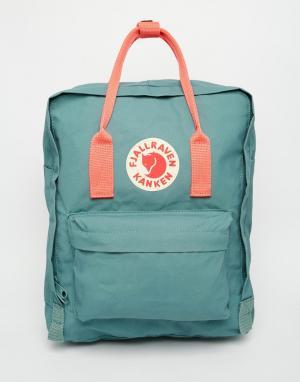 Fjallraven Зеленый рюкзак с розовыми вставками Kanken. Цвет: зеленый