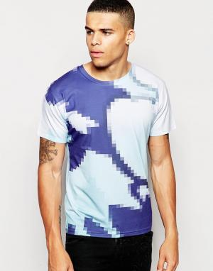 Born Idol Футболка с пиксельным принтом. Цвет: синий