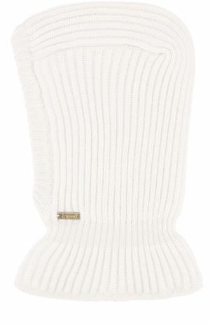Шерстяная шапка фактурной вязки с воротником Il Trenino. Цвет: кремовый