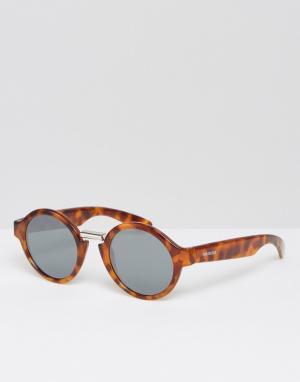 Mr Boho Круглые солнцезащитные очки в черепаховой оправе с серебристыми стекла. Цвет: коричневый