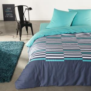 Комплект постельного белья, 100% хлопка, Irregular Stripes La Redoute Interieurs. Цвет: синий