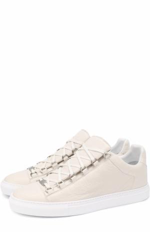 Кожаные кеды на шнуровке Balenciaga. Цвет: белый