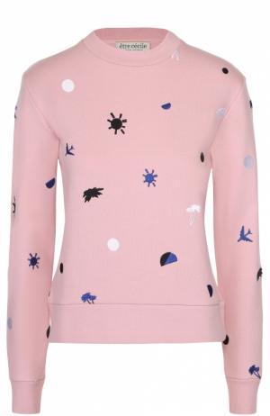 Укороченный свитшот прямого кроя с контрастной вышивкой Etre Cecile. Цвет: розовый