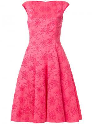 Жаккардовое платье с цветочным принтом Talbot Runhof. Цвет: розовый и фиолетовый
