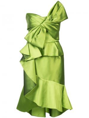 Платье с крупным декоративным бантом Marchesa. Цвет: зелёный