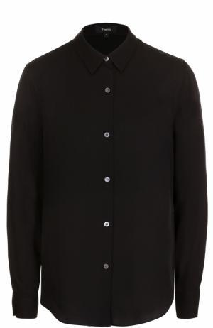 Приталенная шелковая блуза Theory. Цвет: черный
