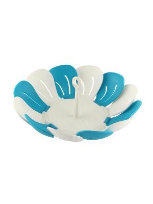 Ваза-пароварка складная Лепестки RUGES. Цвет: белый, синий