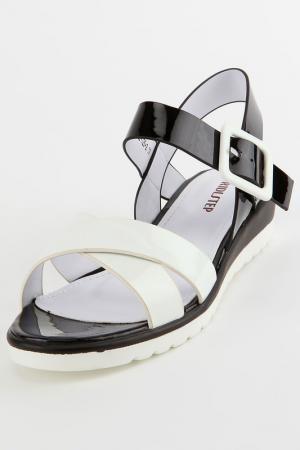 Туфли летние открытые RIDLSTEP. Цвет: белый, черный