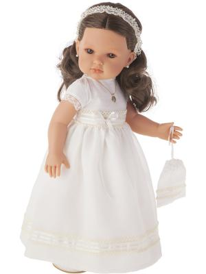 Кукла Белла Первое причастие, брюнетка в кремовом, 45 см Antonio Juan. Цвет: молочный