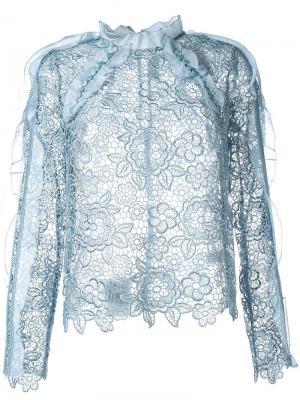 Полупрозрачная кружевная блузка Self-Portrait. Цвет: синий