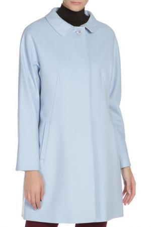 Полуприлегающее пальто с застежкой на пуговицы Cinzia Rocca. Цвет: голубой