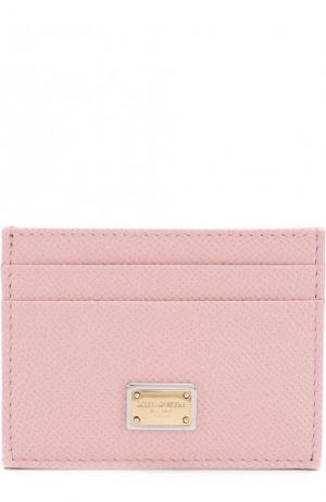 Кожаный футляр для кредитных карт Dolce & Gabbana. Цвет: светло-розовый