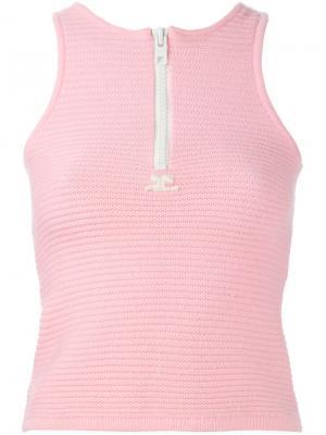 Топ без рукавов Courrèges Vintage. Цвет: розовый и фиолетовый
