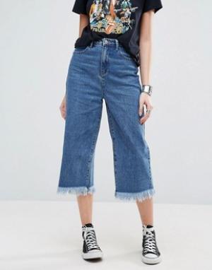 Glamorous Укороченные свободные джинсы с необработанным низом. Цвет: синий