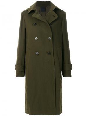 Пальто милитари на пуговицах Aspesi. Цвет: зелёный
