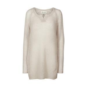 Пуловер с круглым вырезом из тонкого трикотажа AND LESS. Цвет: бежевый