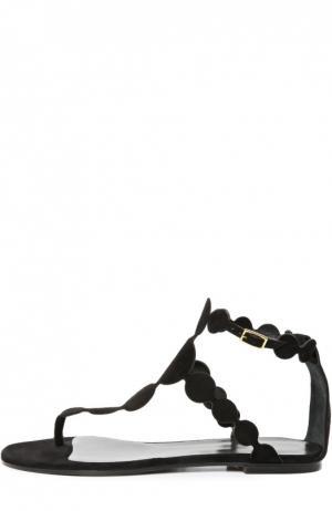 Замшевые сандалии с фигурными ремешками Pierre Hardy. Цвет: черный