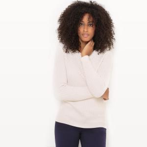 Пуловер из оригинального трикотажа с круглым вырезом La Redoute Collections. Цвет: белый,красный,синий