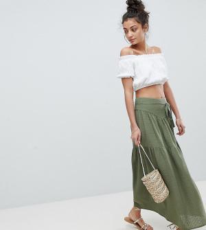 ASOS Tall Фактурная юбка макси с поясом. Цвет: зеленый