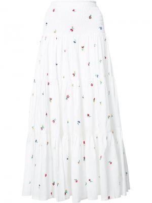 Длинная юбка с вышивкой Suno. Цвет: белый