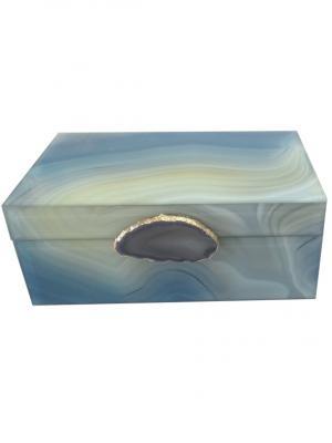 Шкатулка Дымчатый агат (21x13x8,5см, из стекла для мелочей) Magic Home. Цвет: серо-голубой