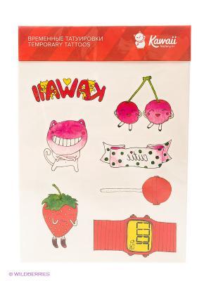 Набор временных тату №14 Kawaii Factory. Цвет: розовый