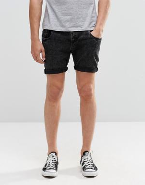 Brave Soul Черные джинсовые шорты скинни. Цвет: черный