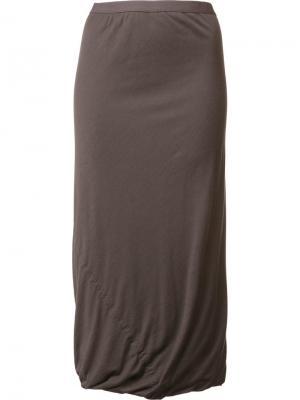 Драпированная длинная юбка Rick Owens Lilies. Цвет: серый