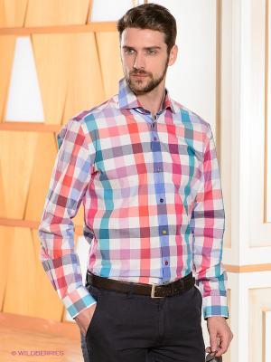 Рубашка R2 Westbrook. Цвет: белый, бирюзовый, розовый