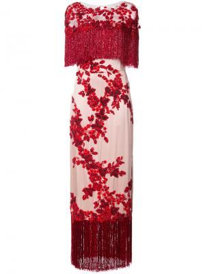 Длинное платье с пайетками и вышивкой Marchesa. Цвет: красный