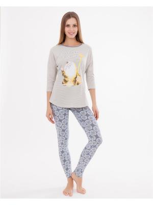 Комплект одежды: лонгслив, леггинсы Mark Formelle. Цвет: серо-голубой, желтый, белый
