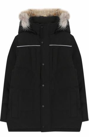 Пуховая куртка Eakin с меховой отделкой на капюшоне Canada Goose. Цвет: черный