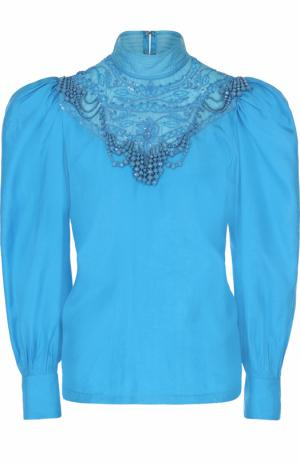 Шелковая блуза с рукавом-фонарик и вышивкой бисером Dries Van Noten. Цвет: голубой